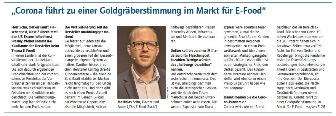 Dr. Matthias Schu zu den Auswirkungen von Corona im E-Food Markt, die Übernahme-Freuden der Industrie und dem Deal Durst.de - Flaschenpost seitens Dr. Oetker in der Lebensmittelzeitung im November 2020