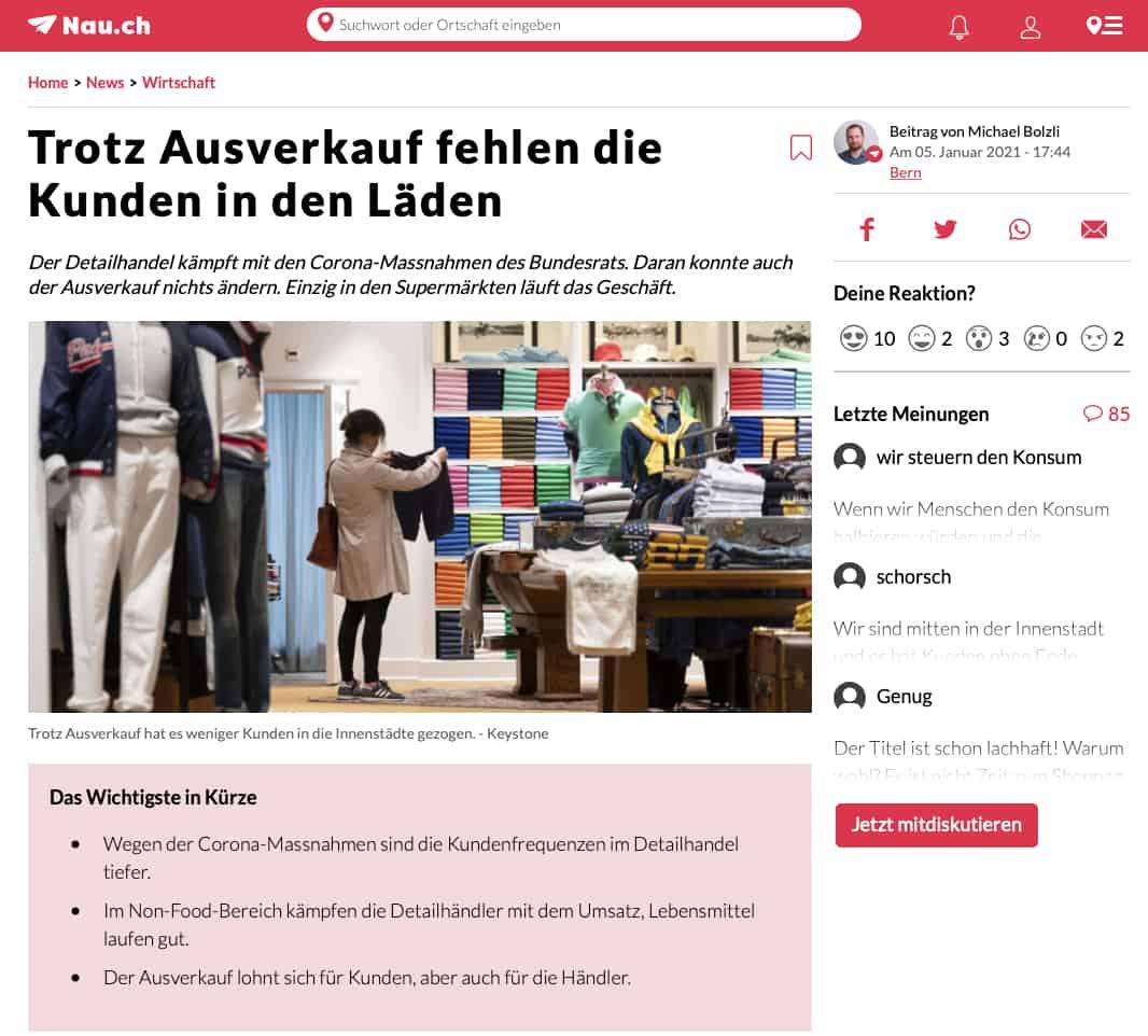 Corona und der Ausverkauf - Die Folgen des Lockdowns auf den stationären Handel in der Schweiz - Dr. Matthias Schu, Dozent für E-Commerce und Handel vom IKM der Hochschule Luzern im Interview