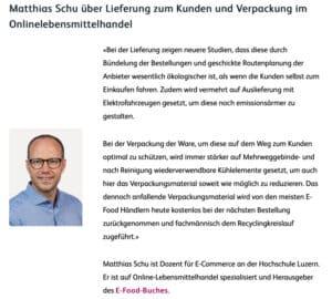 E-Food Experte Dr. Matthias Schu im Interview zu Nachhaltigkeit für das IKM der HSLU (Hochschule Luzern)