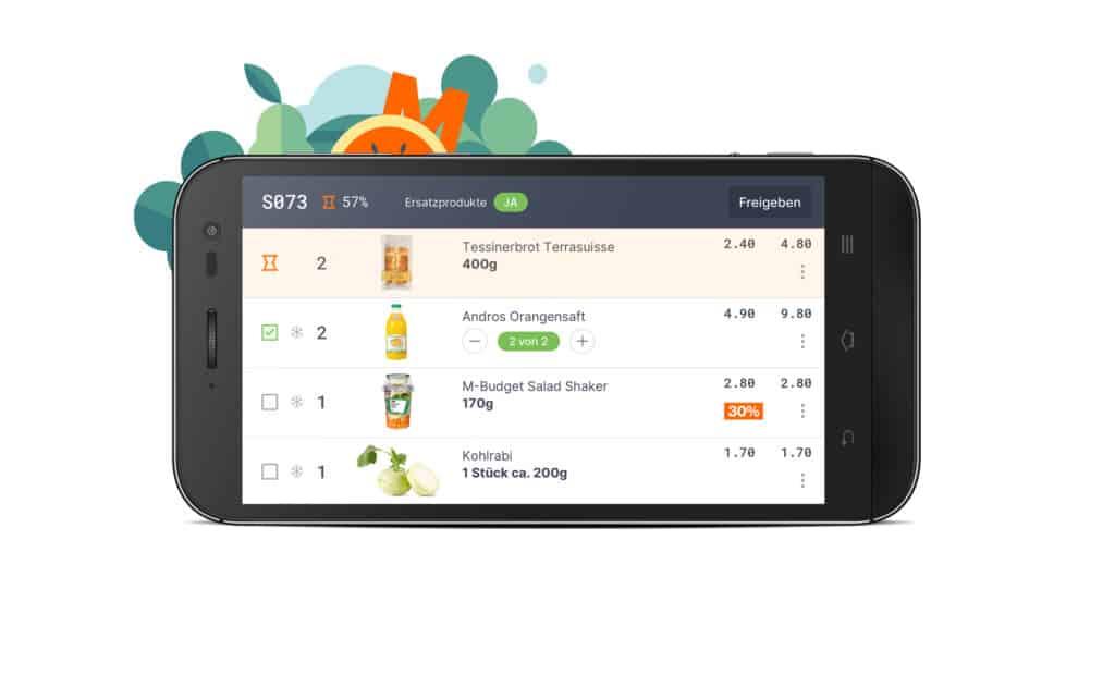 my Migros Picking App auf Smarthone für Storepicking