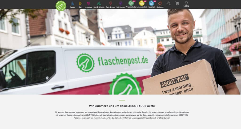 Retouren von About You bei Flaschenpost - E-Food mit mehr Dienstleistung und Diversifizierung